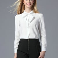 White Bowtie Front Long Sleeve Blouse