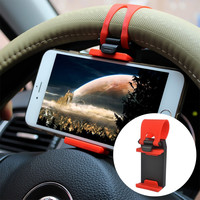 Universal Flexible Steering-Wheel Mount Car Phone Holder Gadget Accessories Interior Support Iphone Samsung For safety
