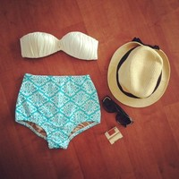Ikat High Waisted Bikini Bottom from Seek Vintage