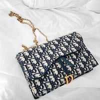 Dior Small sealed gift box packaging practical-good-looking-waist bag-mobile phone bag-presbyopia canvas chain waist bag