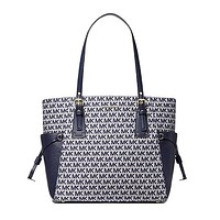Voyager Small Logo Jacquard Tote Bag by MICHAEL Michael Kors, Ivory/Blue