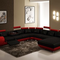 Divani Casa 4084 Modern Black and Red Leather Sectional Sofa