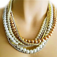 Bridal Pearl Necklace with Rhinestone, Wedding Pearl Necklace Chunky, Ivory & White and Champagne Pearl Necklace, Rhinestone Necklace,