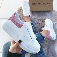 Alexander McQueen  men and women sports casual shoes pink