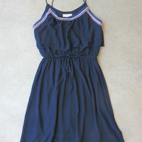 Embroidered Plumage Navy Dress