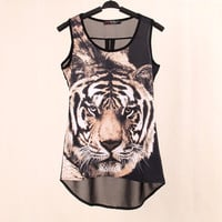 Summer New  Tops woven Digital Printed Tiger Sleeveless t shirts vest knitted LYCRA Chiffon women's tank Tops