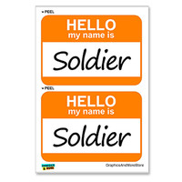 Soldier Hello My Name Is - Sheet of 2 Stickers