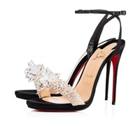 Christian Louboutin Cl Crystal Queen Black Crepe Satin Special Occasion 3170664bk01 - Best Online Sale