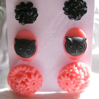 Set of 3 Pink Floral Owl and Black Earring Studs