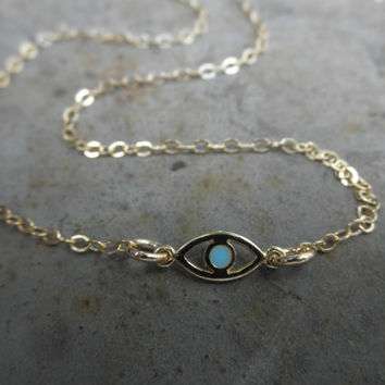 Vermeil Evil eye anklet bracelet with a touch of enamel gold-filled chain