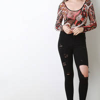 High Waist Ripped Stretchy Skinny Jeans