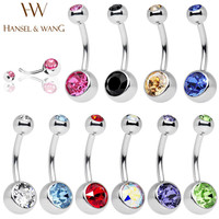 Hansel & Wang 10pcs Navel Piercing Surgical Stainless Steel Belly Button Rings Body Jewelry Percing Navel Piercings STL29