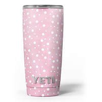 The Pink Watercolor Surface with White Polka Dots - Skin Decal Vinyl Wrap Kit compatible with the Yeti Rambler Cooler Tumbler Cups