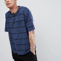 Heart & Dagger Oversized Striped T-Shirt In Navy at asos.com