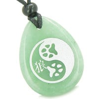 Amulet Wolf Paw Yin Yang Magic Kanji Good Luck Green Quartz Pendant Necklace