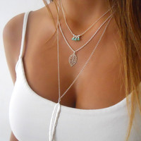 Layered Sterling Silver Necklace Set ; Leaf Pendant With a Beads Design ; Delicate Silver Layering Necklace ; Pick Your Beads Color.