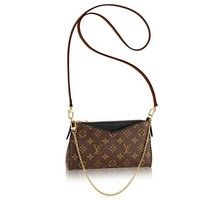 Authentic Louis Vuitton Monogram Canvas Pallas Clutch Handbag Noir Article: M41639 Made in France