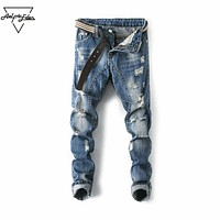 Mid Waist Classic Holes Men Jeans Casual Washed Frazzle Biker Jeans Blue Fashion Hip Hop Jeans Home