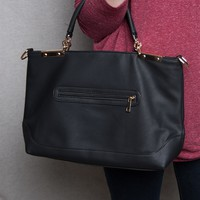 Lucky 21 Faux Leather Zipper-Pocket Convertible Tote Bag - Black