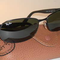 RAY BAN RB3245 61[]17mm G15 UV SLEEK SPORT BLACK CHROME METAL WRAPs SUNGLASSES