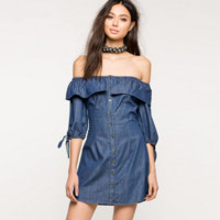 Fashion Casual Solid Color Frills Off Shoulder Middle Sleeve Denim Mini Dress