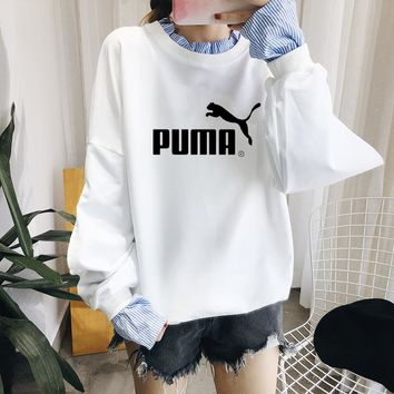 """Puma"" Women Casual Long Sleeve Letter Stripe Shirt False Two-Piece Sweater Tops"