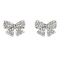 Rhinestone Bow Stud Earrings: Charlotte Russe