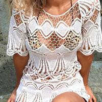 Limited Handmade Knitting Crochet Blouse Hollow Out Beach Loose Dress for Womens Gift-67