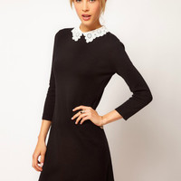 Black Floral Lace Collar Long Sleeve A-line Mini Dress