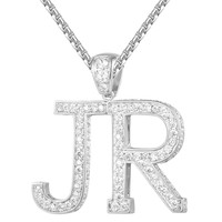 14k White Gold Finish Custom Block Letters A-Z Pendant