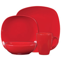 Gibson Canby Park 16 Piece Dinnerware Set- Red