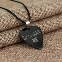 Music Band 5 Second of Summer Guitar Pick Necklace Pendant
