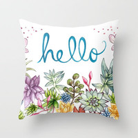hello spring Throw Pillow by Brooke Weeber | Society6