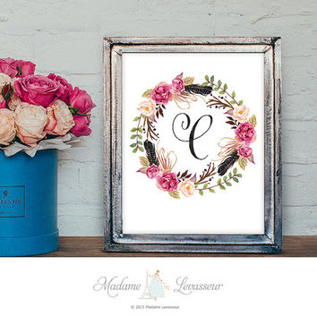 Printable Monogram Art Nursery Art Letter Print Floral Wreath Art Flower Calligraphy Initial Art Print Instant Download Alphabet art print