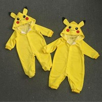 Go Toddler Infant Baby Boy Girl Pikachu Outfit Jumpsuit Romper Cosplay CostumesKawaii Pokemon go  AT_89_9
