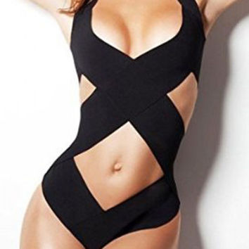 RUNWAY Black Halter Crisscross One Piece Bathing Suit