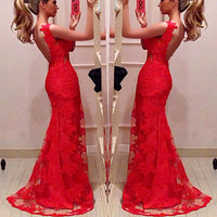 Deep V Neck Lace Sleeveless Mermaid Evening Dress Sexy Formal Party Pageant Gown