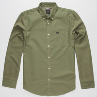 Rvca That'll Do Oxford Mens Shirt Forest  In Sizes