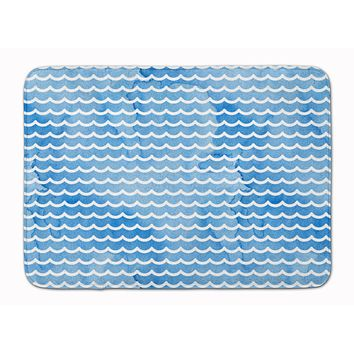 Beach Watercolor Waves Machine Washable Memory Foam Mat BB7531RUG