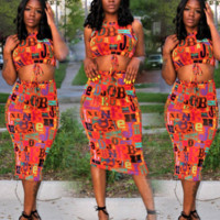 Womens Casual Top Skirt Two-Piece