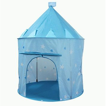 Portable Blue Boys Folding Tent Play House Castle Tent for kids Outdoor Indoor