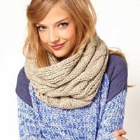 ASOS Wool Mix Cable Funnel Snood at asos.com