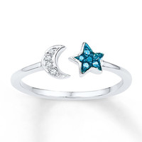 Midi Star Ring Blue/White Diamonds Sterling Silver