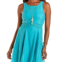 Teal Lace & Crochet Sleeveless Skater Dress by Charlotte Russe