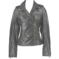 Kixters Fran - Black Leather Motorcycle Jacket