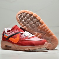 NIKE AIR MAX 90 x OFF-WHITE Co-branded cushion cushion cushioning comfortable low-top casual sneakers Red
