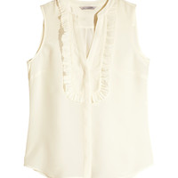 H&M - Ruffled Silk Blouse - Natural white - Ladies