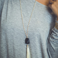 Tassel and Stone Necklace in Black and Cream