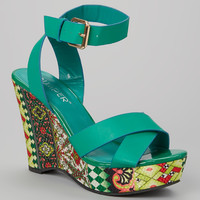Green Ankle-Strap Jayma Platform Sandal | something special every day
