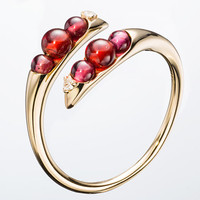 Double wrap Garnet Ring - Petite ring with diamond in 14k yellow gold - Delicate handmade unique design high jewelry  NONI by Majade